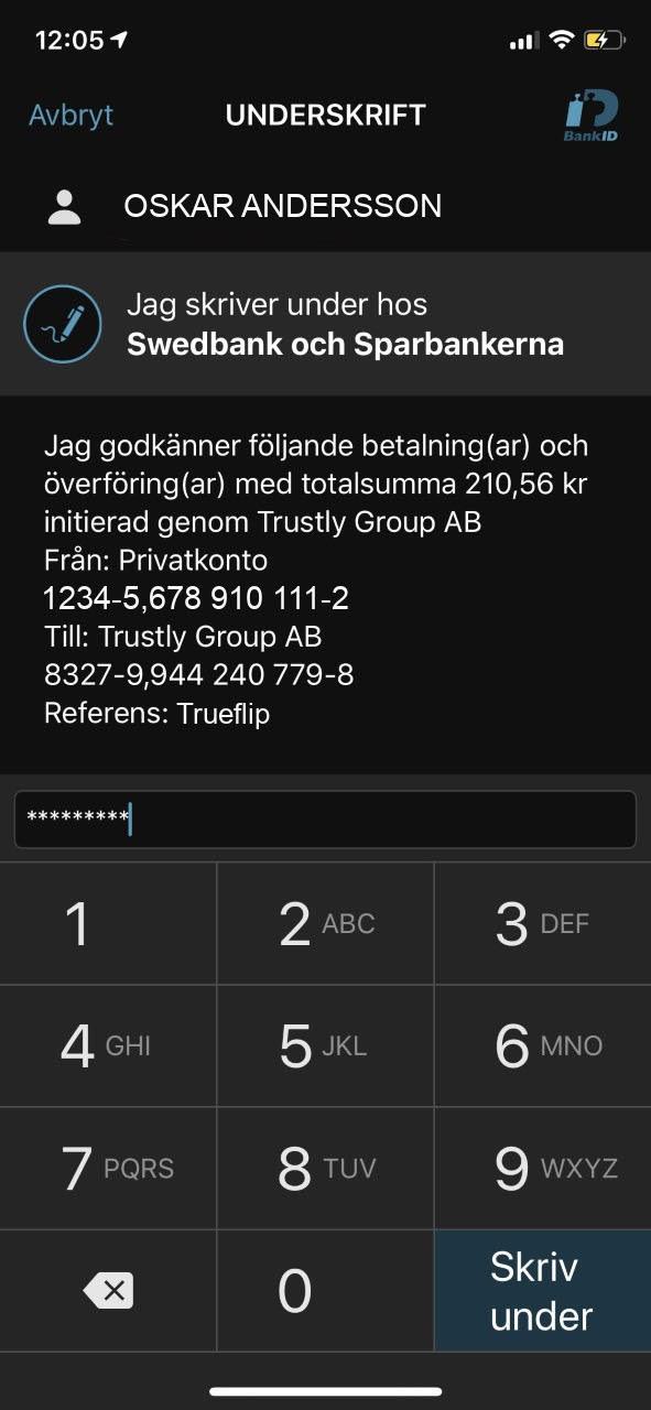 casino utan svensk licens med Trustly steg 8 - signera överföring