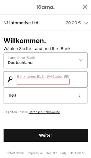 Schritt 4: Weiterleitung zu Klarna und Eingabe der Bankdaten.