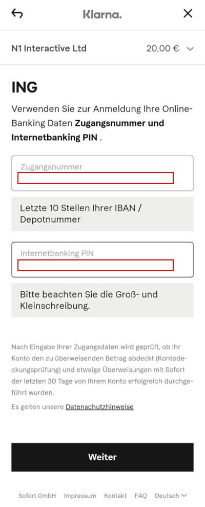 Schritt 5: Log in mit den persönlichen Online-Banking Daten.